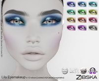 Zibska ~ Lila Eyemakeup in 12 colors with Lelutka, LAQ, Catwa, Omega appliers and tattoo BOM layers