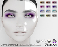 Zibska ~ Gianna Eyemakeup in 12 colors with Lelutka, Laq, Catwa, Omega appliers and system tattoo layers