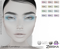 Zibska ~ Camelia Eyemakeup in 12 colors with Lelutka, LAQ, Catwa and Omega appliers and tattoo BOM layers