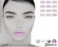 Zibska ~ Camelia Lips in 12 colors with Lelutka, LAQ, Catwa, Omega appliers and tattoo BOM layers