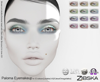 Zibska ~ Paloma Eyemakeup in 12 colors with Lelutka, LAQ, Catwa, Omega appliers and system tattoo layers