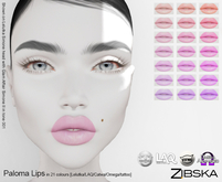 Zibska ~ Paloma Lips in 21 colors with Lelutka, LAQ, Catwa, Omega appliers and system tattoo layers
