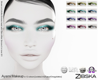 Zibska ~ Ayami Eyemakeup in 12 colors with Lelutka, LAQ, Catwa and Omega appliers and tattoo layers
