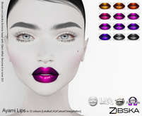 Zibska ~ Ayami Lips in 12 colors with Lelutka, LAQ, Catwa and Omega appliers and tattoo layers