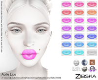 Zibska ~ Aoife Lips in 21 colors with Lelutka, Genus, LAQ, Catwa and Omega appliers, tattoo & universal tattoo BOM