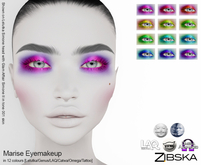 Zibska ~ Marise Eyemakeup in 12 colors with Lelutka, Genus, LAQ, Catwa and Omega appliers and tattoo layers