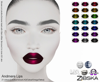 Zibska ~ Andmere Lips in 21 colors with Lelutka, Genus, LAQ, Catwa and Omega appliers and tattoo layers
