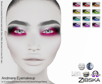 Zibska ~ Andmere Eyemakeup in 12 colors with Lelutka, Genus, LAQ, Catwa and Omega appliers and tattoo layers