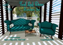 ~Sadie's Deisgn~ Teal Leaf Outdoor Set ~ Furniture Set
