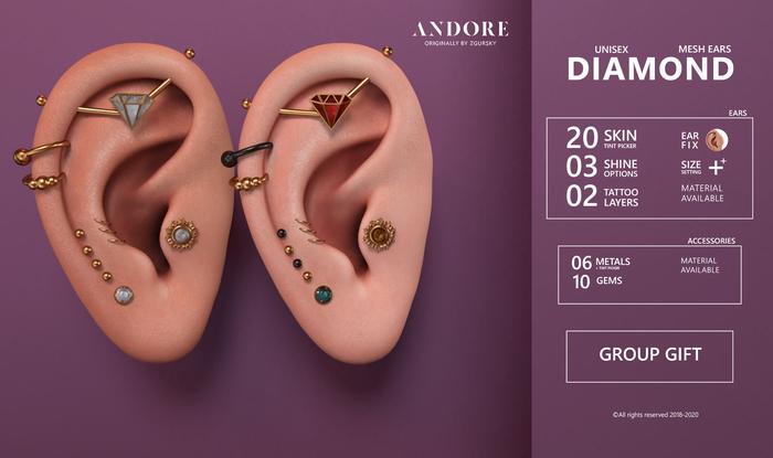 :ANDORE: - :Mesh Ears: - Diamond [Group Gift]