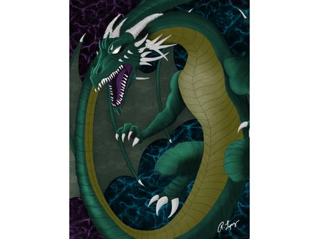Green Dragon Art Canvas