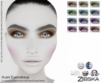 Zibska ~ Avani Eyemakeup in 12 colors with Lelutka, Genus, LAQ, Catwa and Omega appliers and tattoo layers