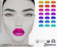 Zibska ~ Cosima Lips in 21 colors with Lelutka, Laq, Catwa, Omega appliers and system tattoo layers