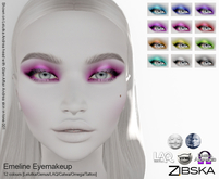 Zibska ~ Emeline Eyemakeup in 12 colors with Lelutka, Genus, LAQ, Catwa and Omega appliers and tattoo layers