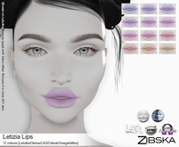 Zibska ~ Letizia Lips in 12 colors with Lelutka, Genus, LAQ, Catwa and Omega appliers and system tattoo layers