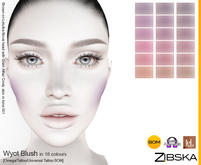 Zibska ~ Wyot Blush in 18 colors with Omega applier, tattoo and universal tattoo BOM layers