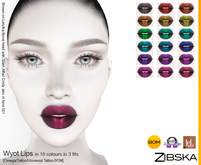 Zibska ~ Wyot Lips in 18 colors in 3 fits with omega applier, tattoo and universal tattoo BOM layers