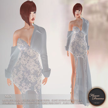 .:FlowerDreams:. Mia Gown  Floral Lace - sky blue