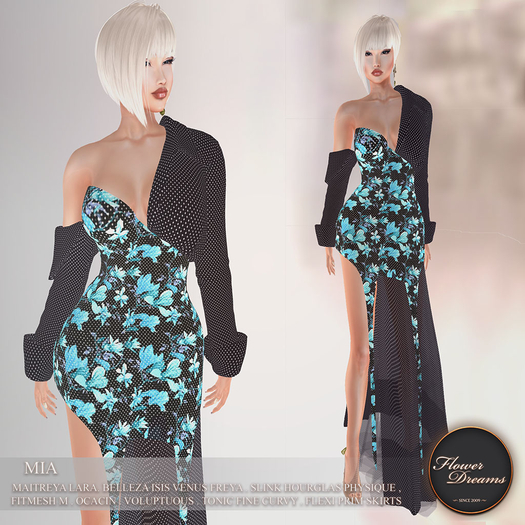 .:FlowerDreams:. Mia Gown Dotty Magnolia - blue