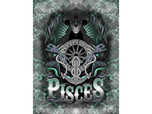 Pisces Zodiac Skeleton Art Canvas