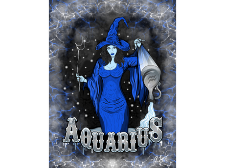 Aquarius Zodiac Witch Art Canvas