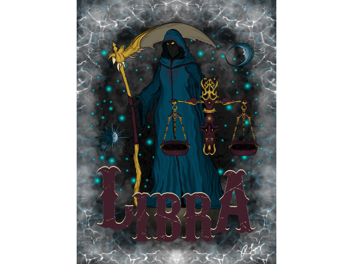 Libra Zodiac Grim Reaper Art Canvas