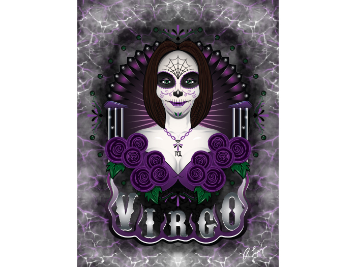 Virgo Zodiac Skeleton Art Canvas