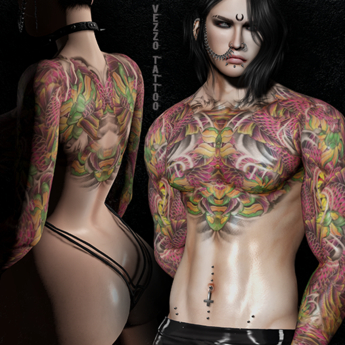 Frea Warrior Tattoo - Unisex, Pink, Black, Maitreya, Legacy, INTHIUM KUPRA, Belleza, Signature, Omega, BOM - Vezzo Ink