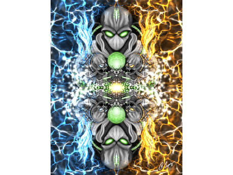 Fire & Ice Alien Art Canvas