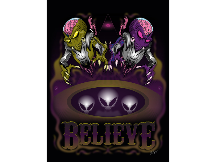 Believe Aliens Art Canvas
