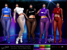*PROMO May Latex & Fishnet Crop Pants & Top Set, Tights, Crop top, Fishnet, Net, 66 color Mega Fatpack! leather,sale