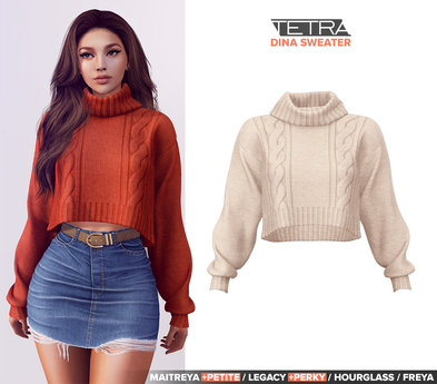 TETRA - Dina - turtleneck knit sweater (Cream)