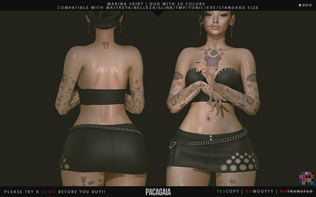 :PC: Marina Skirt (For Belleza Venus, Isis, Freya, Slink Physique, Hourglass, Maitreya, TMP, Tonic and EVE)