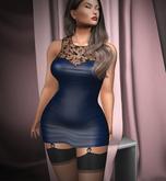 Yalin Fashion LIV Leatherdress blue (add)