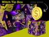 Halloween Tip Jar - Witch Coin Spin Tip Jar Box