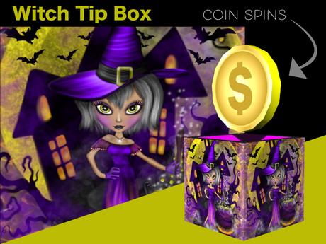 Halloween Tip Jar - Witch Coin Spin Tip Jar Box