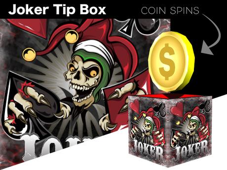 Tip Jar - Poker Joker Skull Coin Box - *TIP JAR*