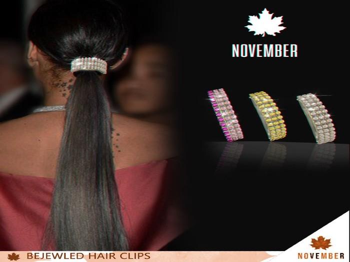 Nov-Bejewled Hair Clips (Silver PacK)