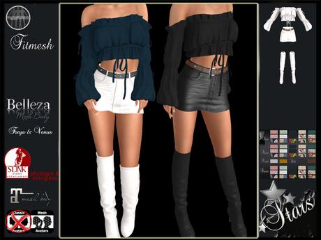 PROMO -50% Stars - Maitreya, Belleza, Slink - Ebaine top, shorts & boots