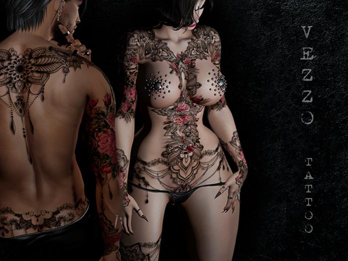 Brianna Tattoo - Pink, single colour, Maitreya, Legacy, INTHIUM KUPRA, Belleza, Signature, Omega, BOM - Vezzo Ink