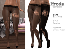 """""""Freda"""" Nylons Black Ripped Pantyhose 2-Pack Opaque and Sheer Tights with Ladder, Run for BoM compatible mesh bodies"""