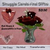 Red Roses & Gypsophila  in vase Gift Boxed