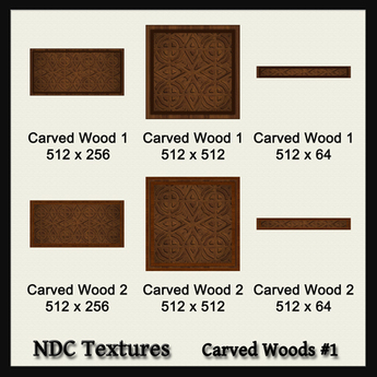 NDC Textures: Carved Woods #1.  6 dark wood textures