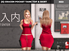[S] Gracen Pocket Tank Top & Skirt Red