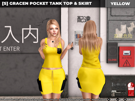 [S] Gracen Pocket Tank Top & Skirt Yellow