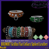 [MC]  BRDMRT Griffin Flat Collar SPIKED LEATHER[wear to unpack]