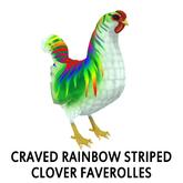 Barnyard Bird Nest - Rooster - Craved Rainbow Striped Clover Fa