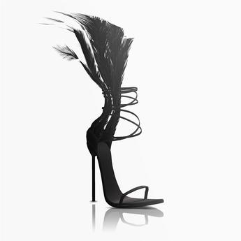 Aneja Feather Heels — Onyx