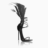 Aneja Feather Heels — Onyx