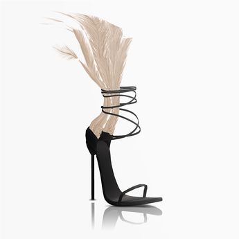 Aneja Feather Heels — Nude